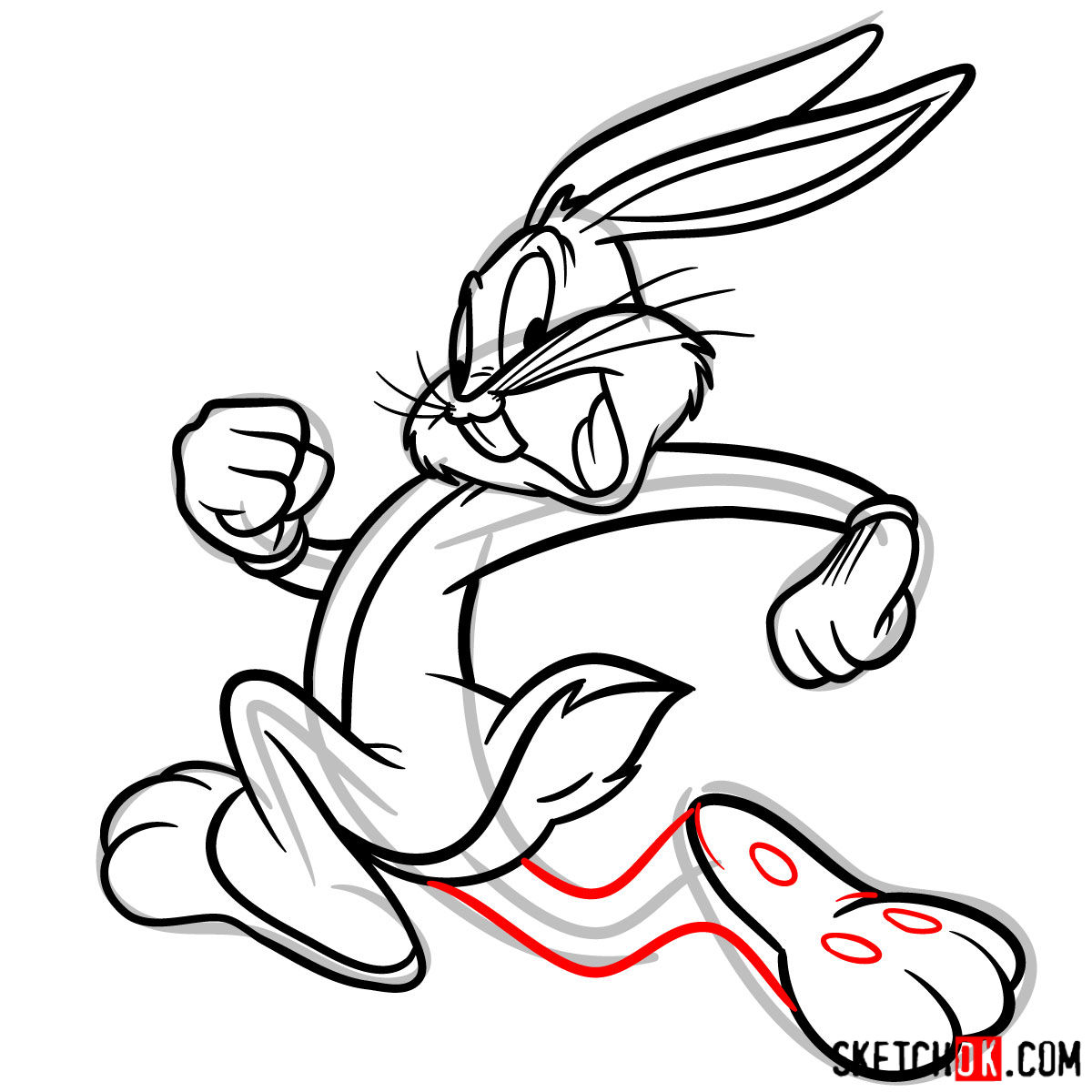 How to draw Bugs Bunny running - step 12