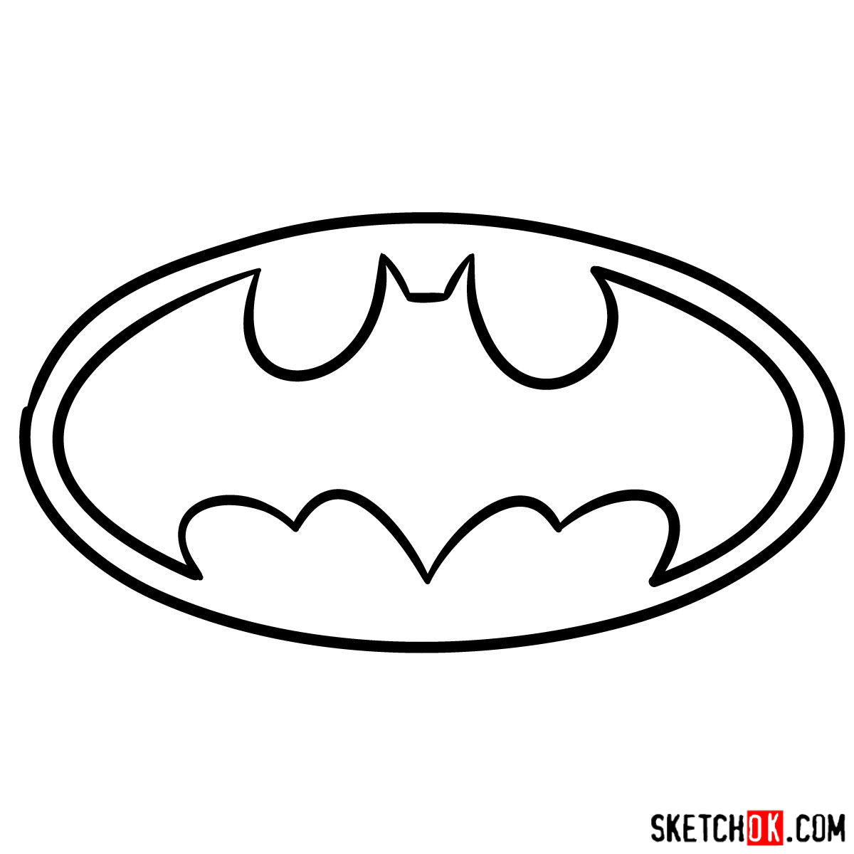 How to draw Batman Sign - step 05
