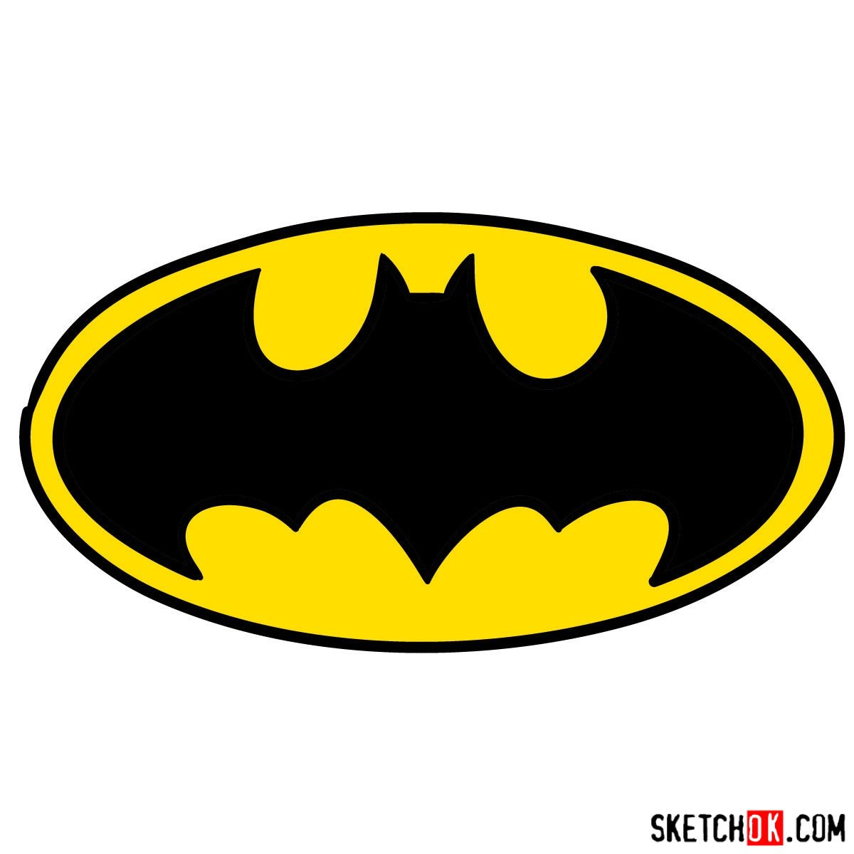 How to draw Batman Sign - coloring