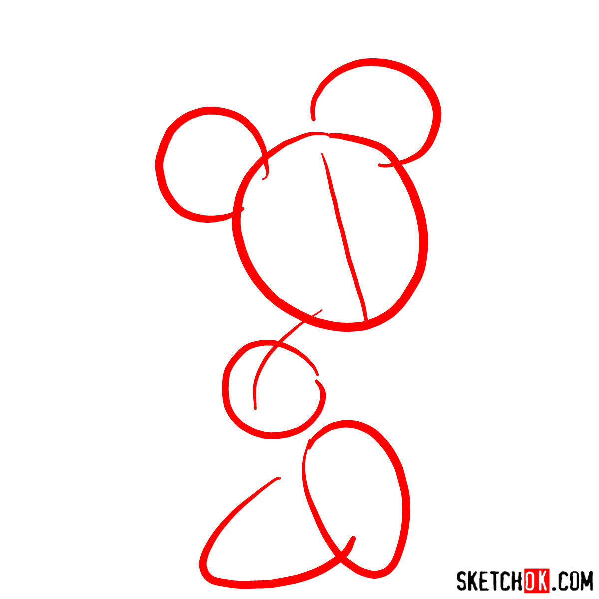 How to draw Minnie Mouse - step 01