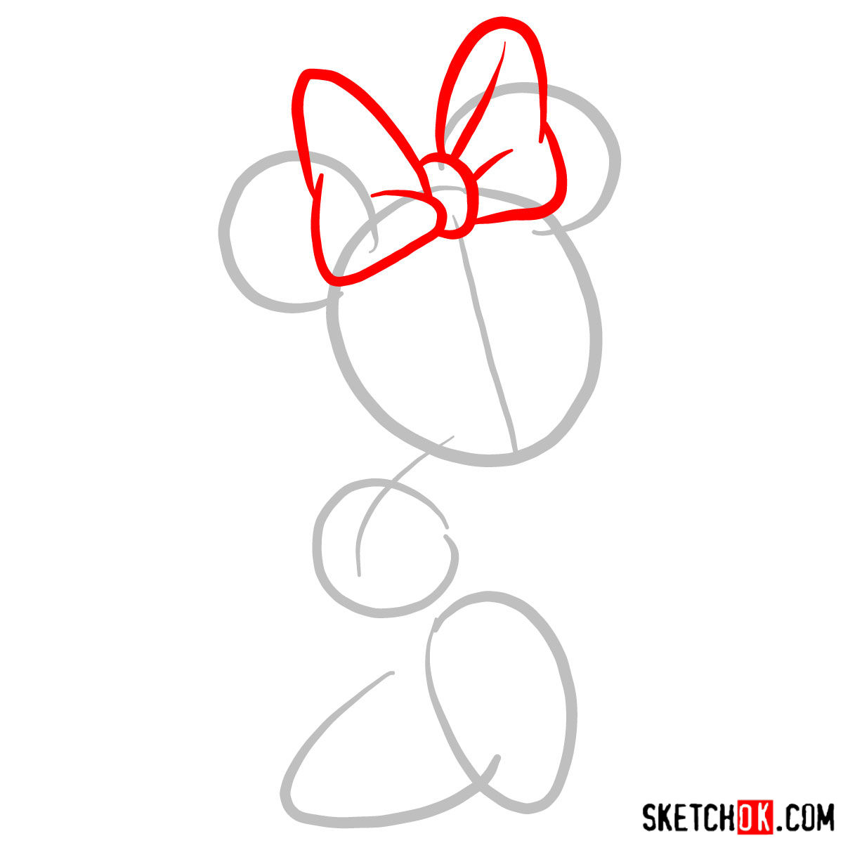How to draw Minnie Mouse - step 02