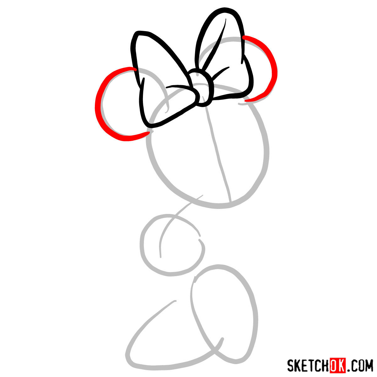 How to draw Minnie Mouse - step 03