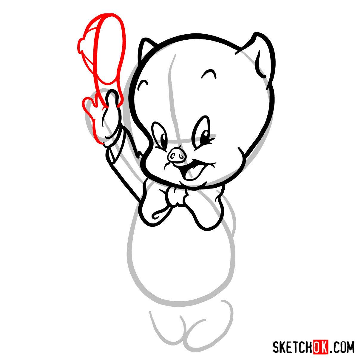 How to draw Porky Pig -  step 06