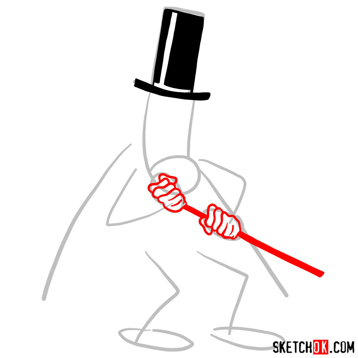 How to draw Snidely Whiplash - step 03