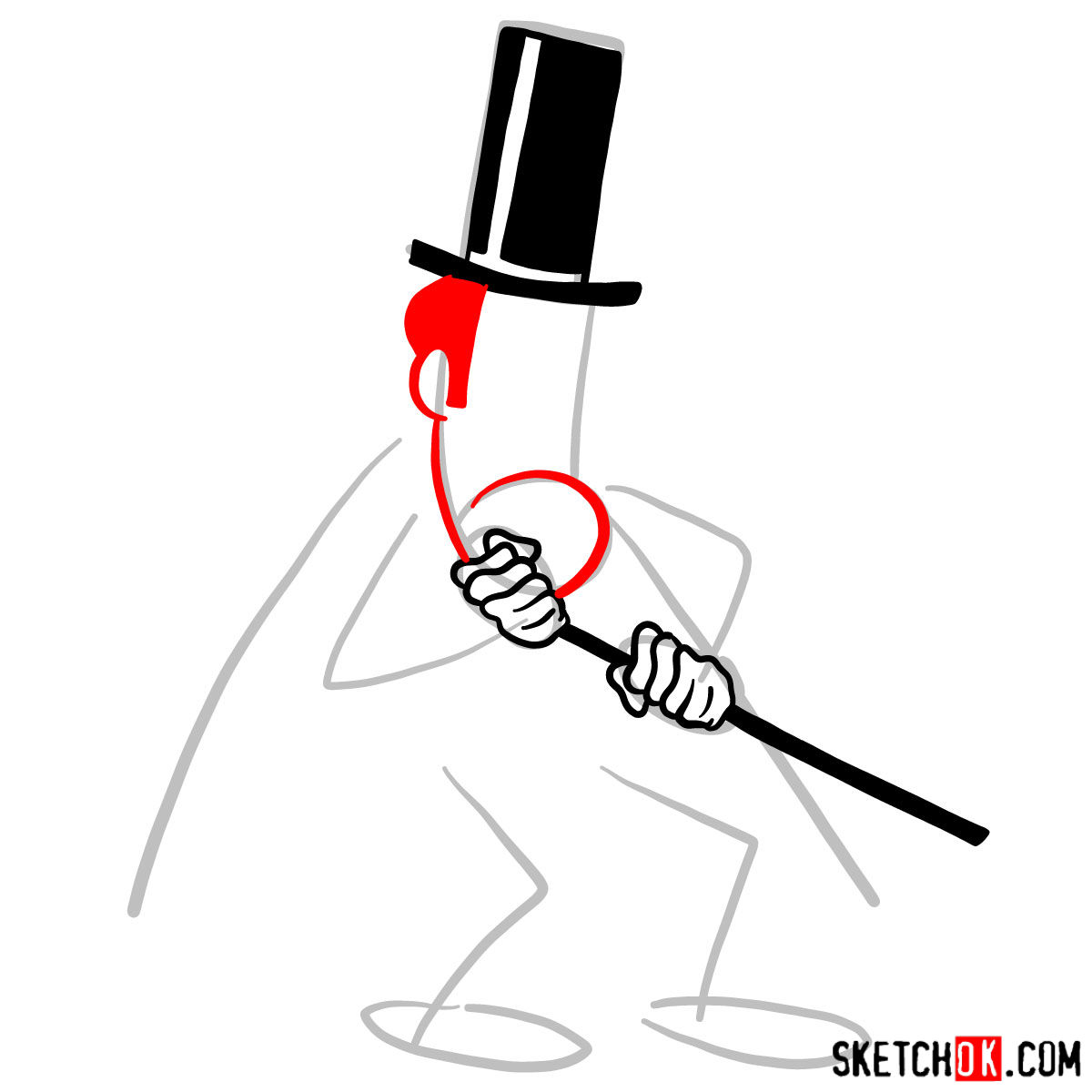 How to draw Snidely Whiplash - step 04