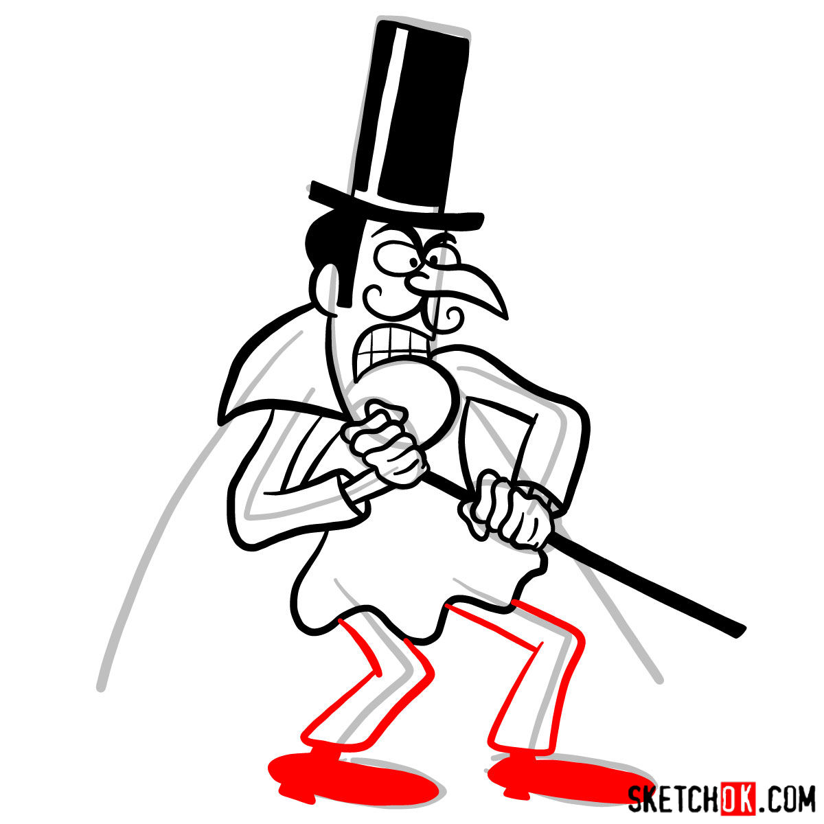 How to draw Snidely Whiplash - step 08