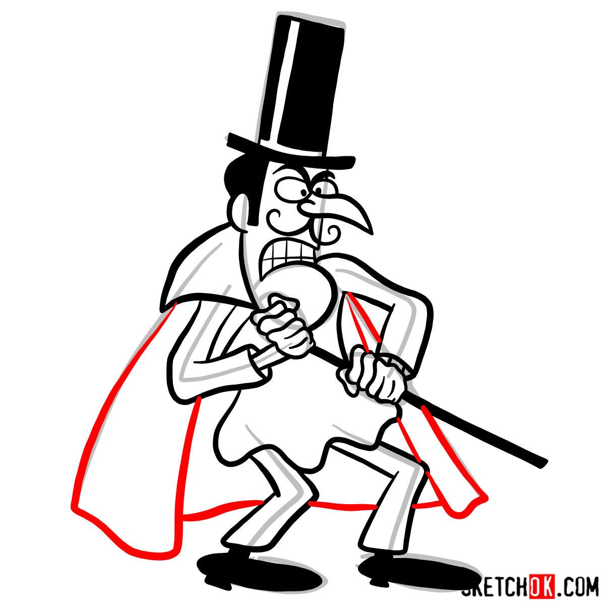 How to draw Snidely Whiplash - step 09