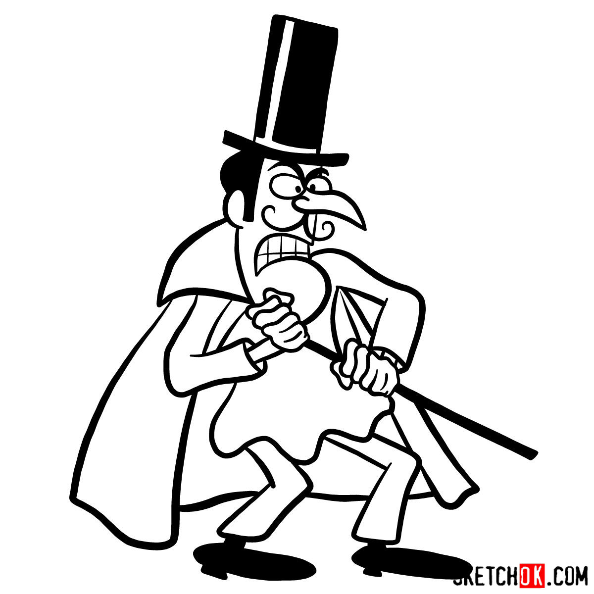 How to draw Snidely Whiplash - step 10