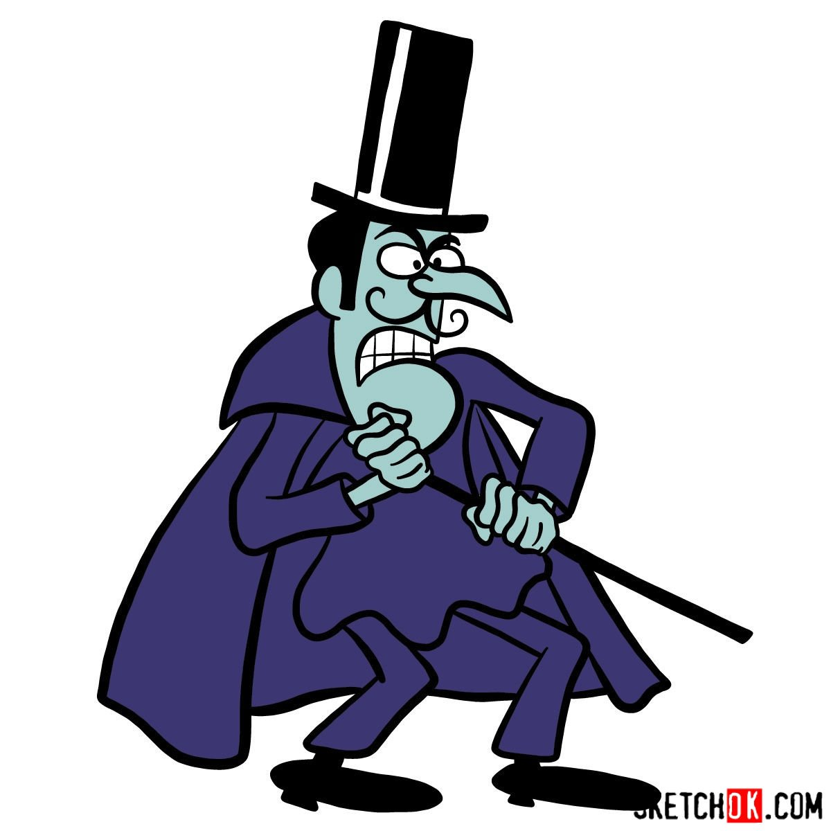How to draw Snidely Whiplash