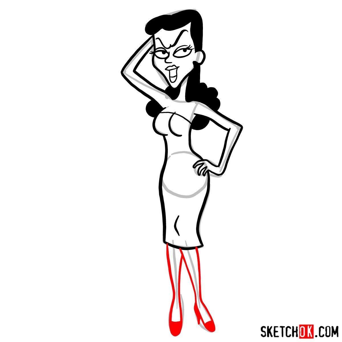 How to draw Natasha Fatale - step 09