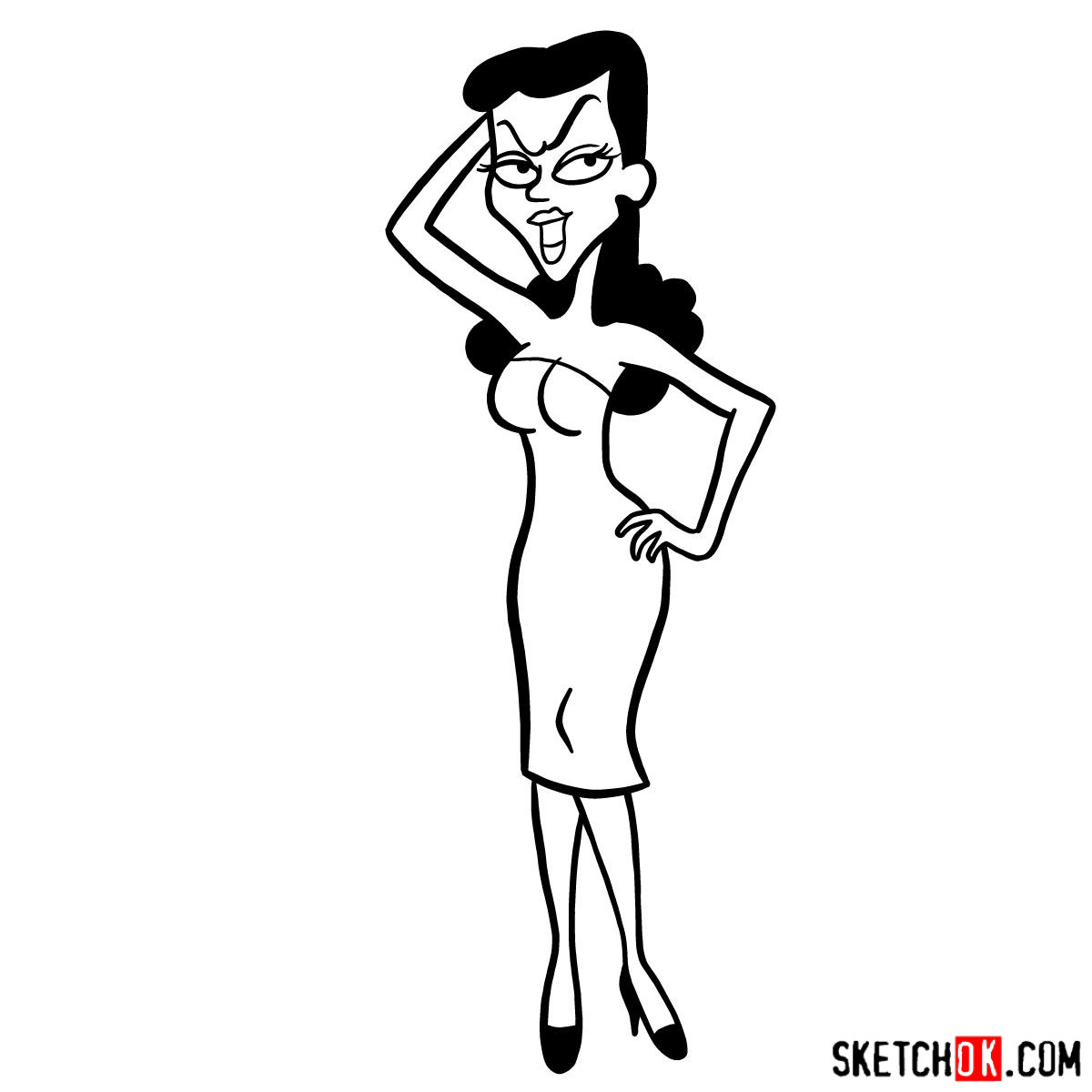 How to draw Natasha Fatale - step 10