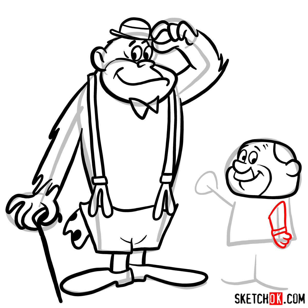How to draw Magilla Gorilla and Mr. Peebles - step 13