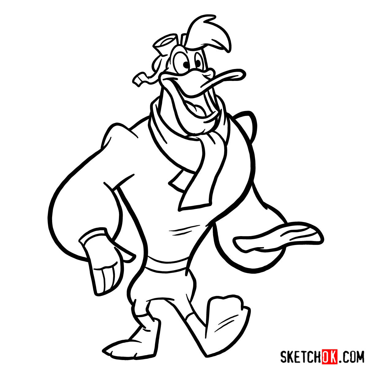 How to draw Launchpad McQuack - step 11