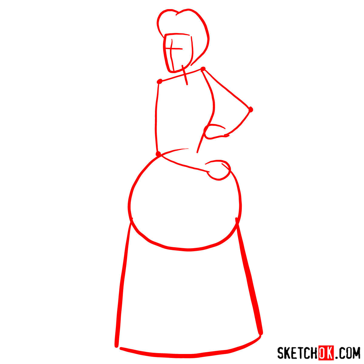 How to draw Lady Tremaine (Wicked Stepmother) - step 01