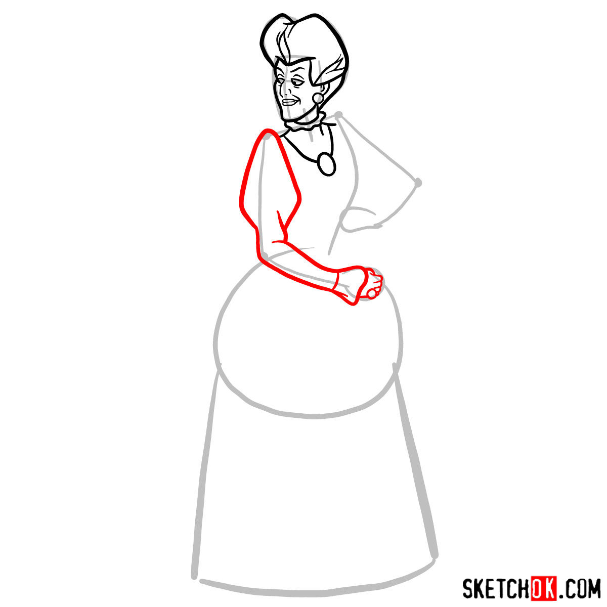 How to draw Lady Tremaine (Wicked Stepmother) -  step 06