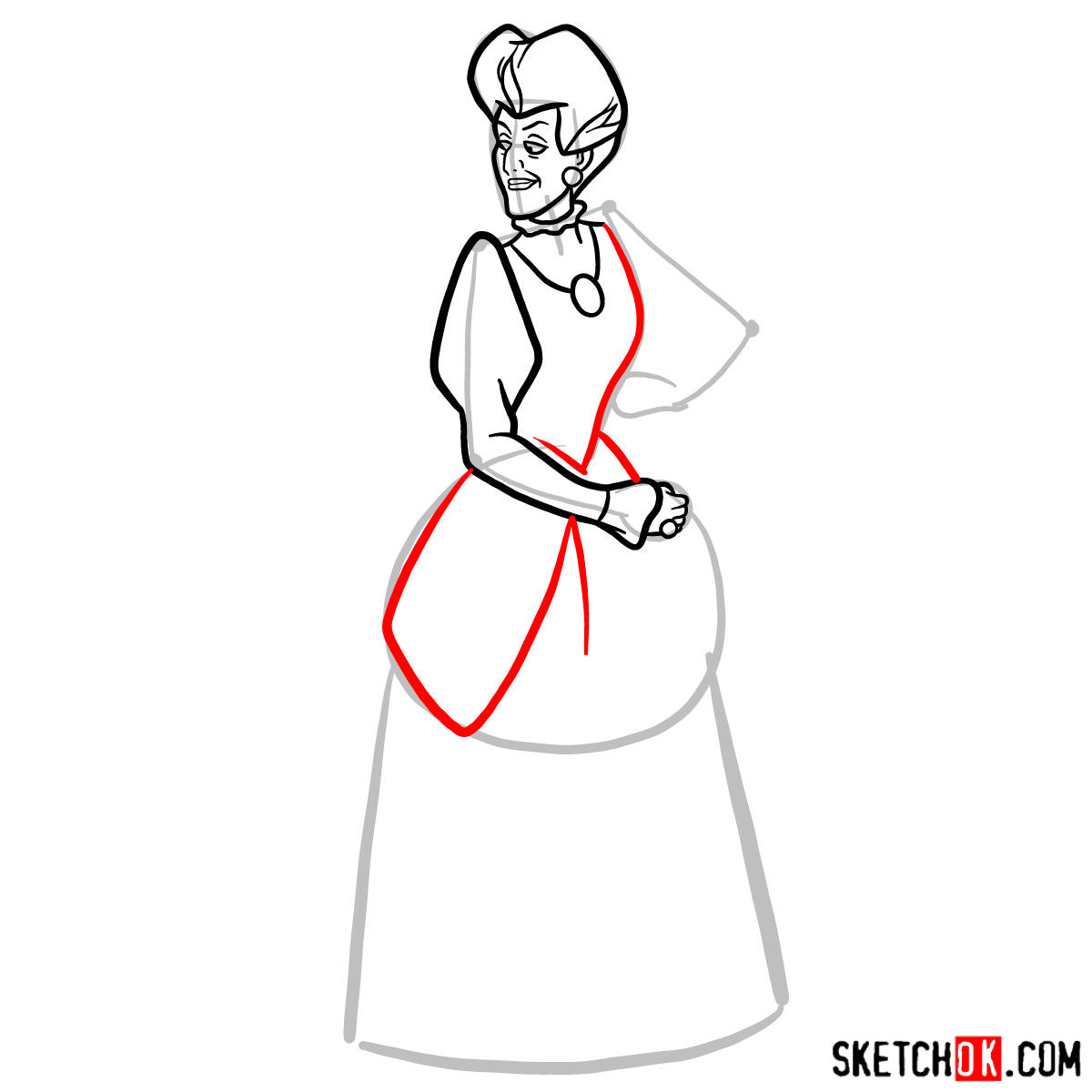 How to draw Lady Tremaine (Wicked Stepmother) - step 07