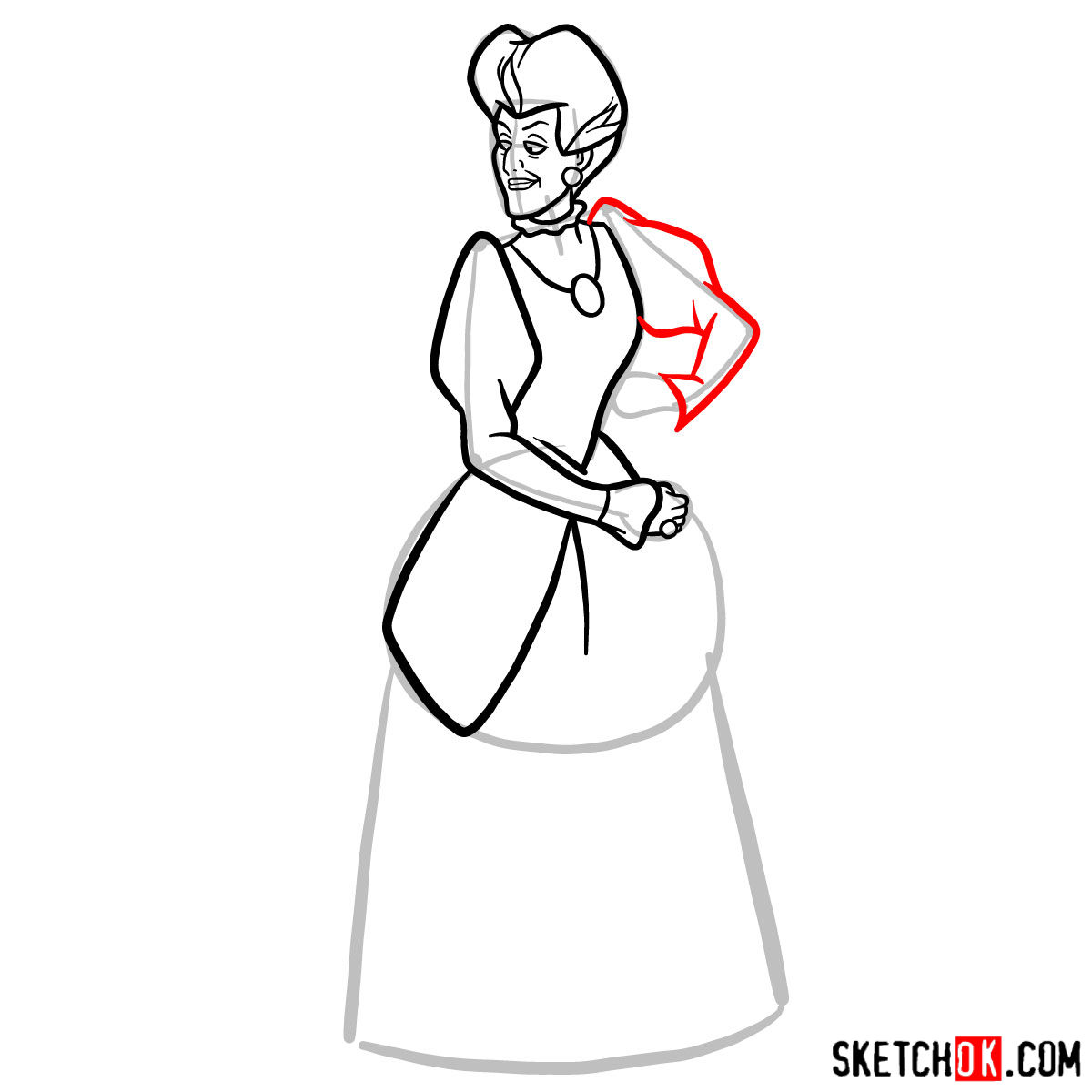 How to draw Lady Tremaine (Wicked Stepmother) - step 08