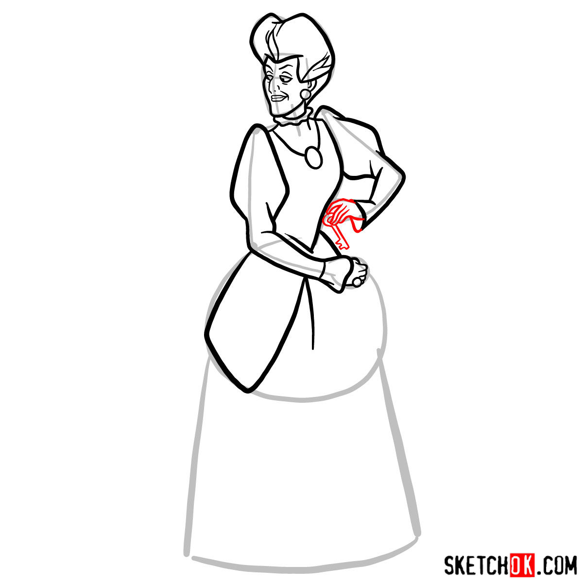 How to draw Lady Tremaine (Wicked Stepmother) - step 09
