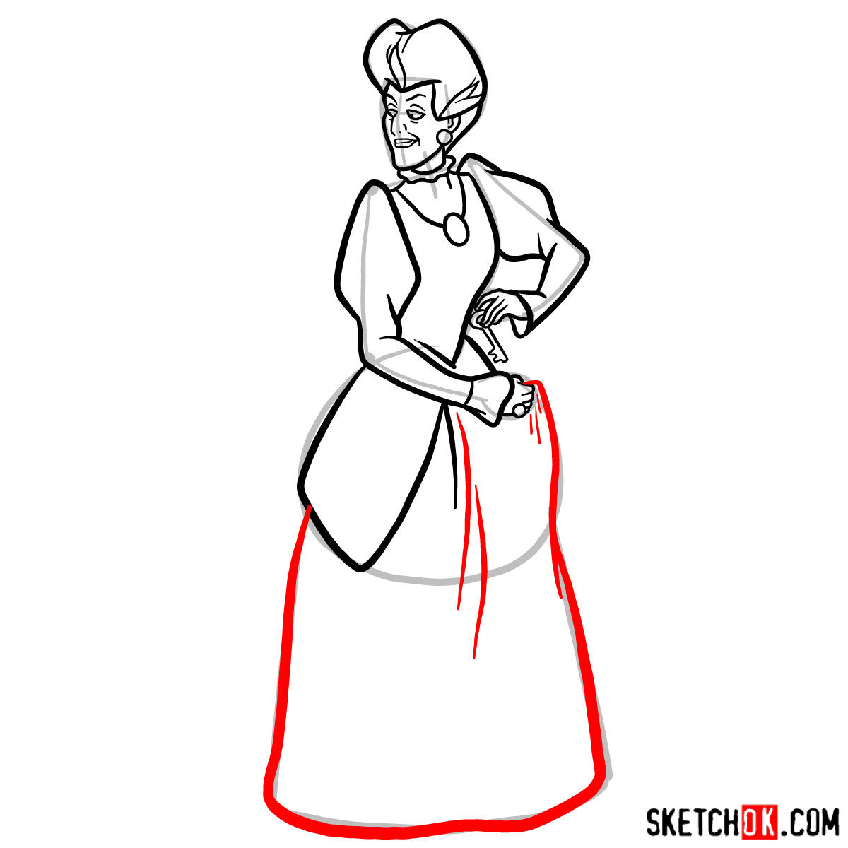 How to draw Lady Tremaine (Wicked Stepmother) - step 10