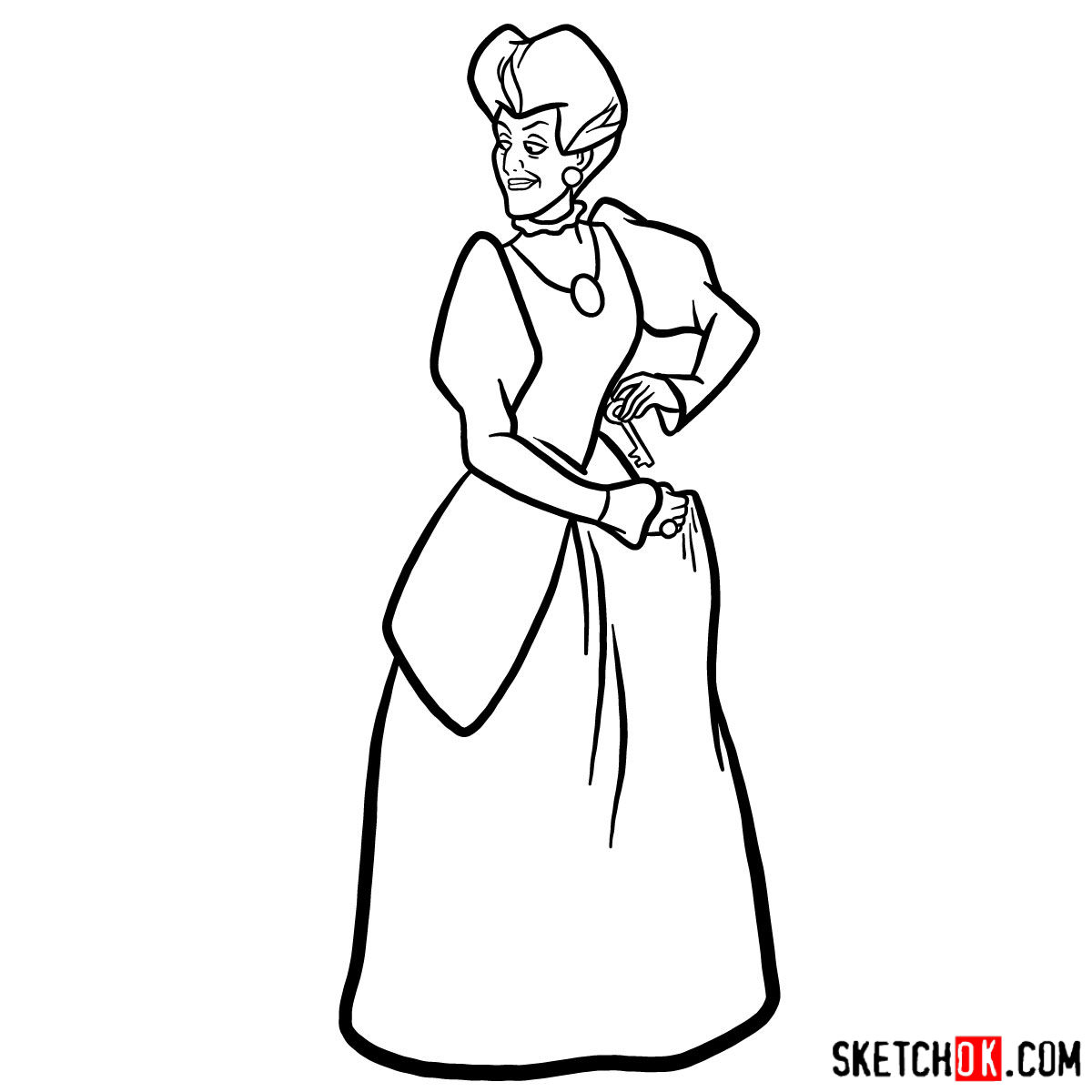 How to draw Lady Tremaine (Wicked Stepmother) - step 11