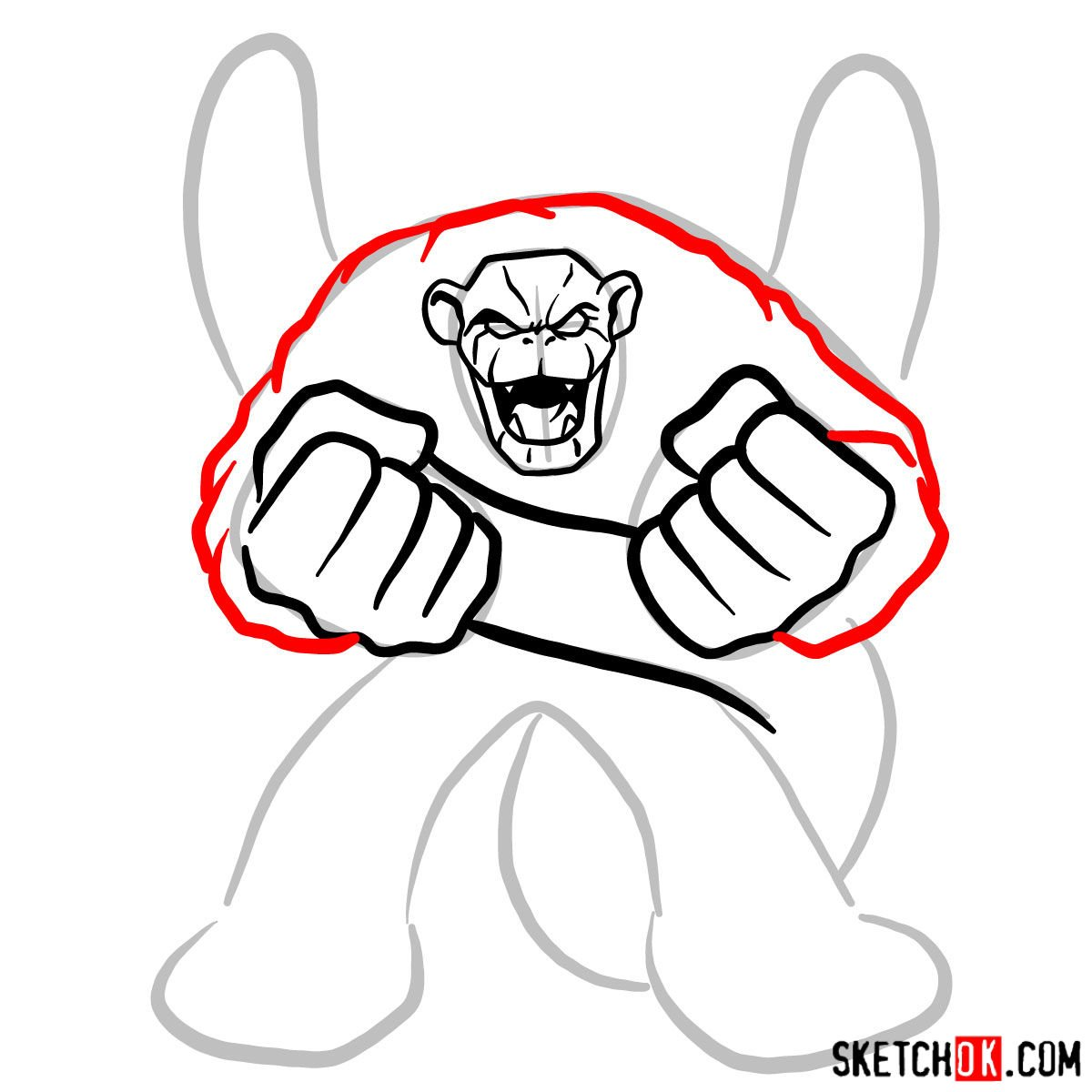 How to draw Igoo the Rock Ape - step 07