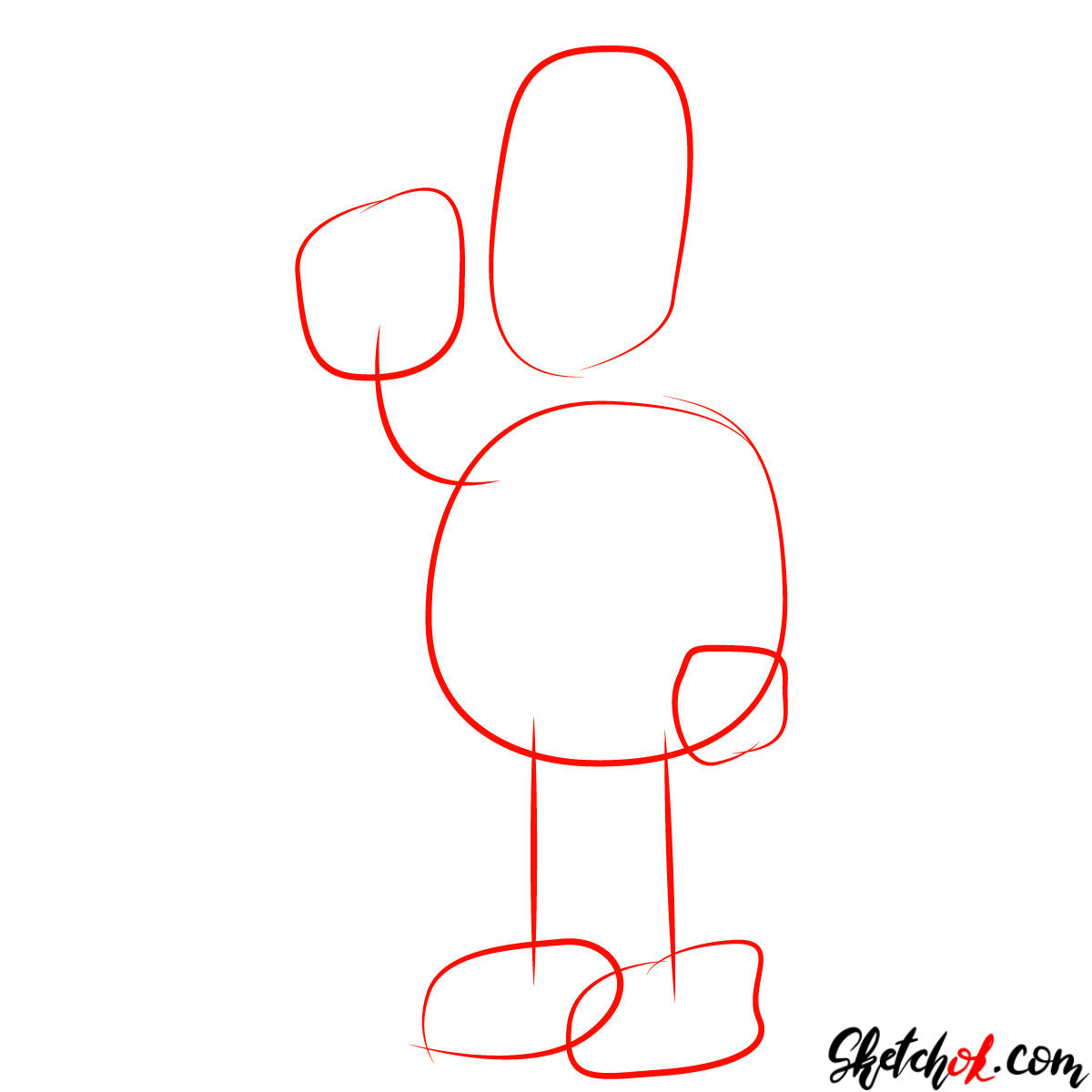 How to draw Homer Simpson eating a donut - step 01
