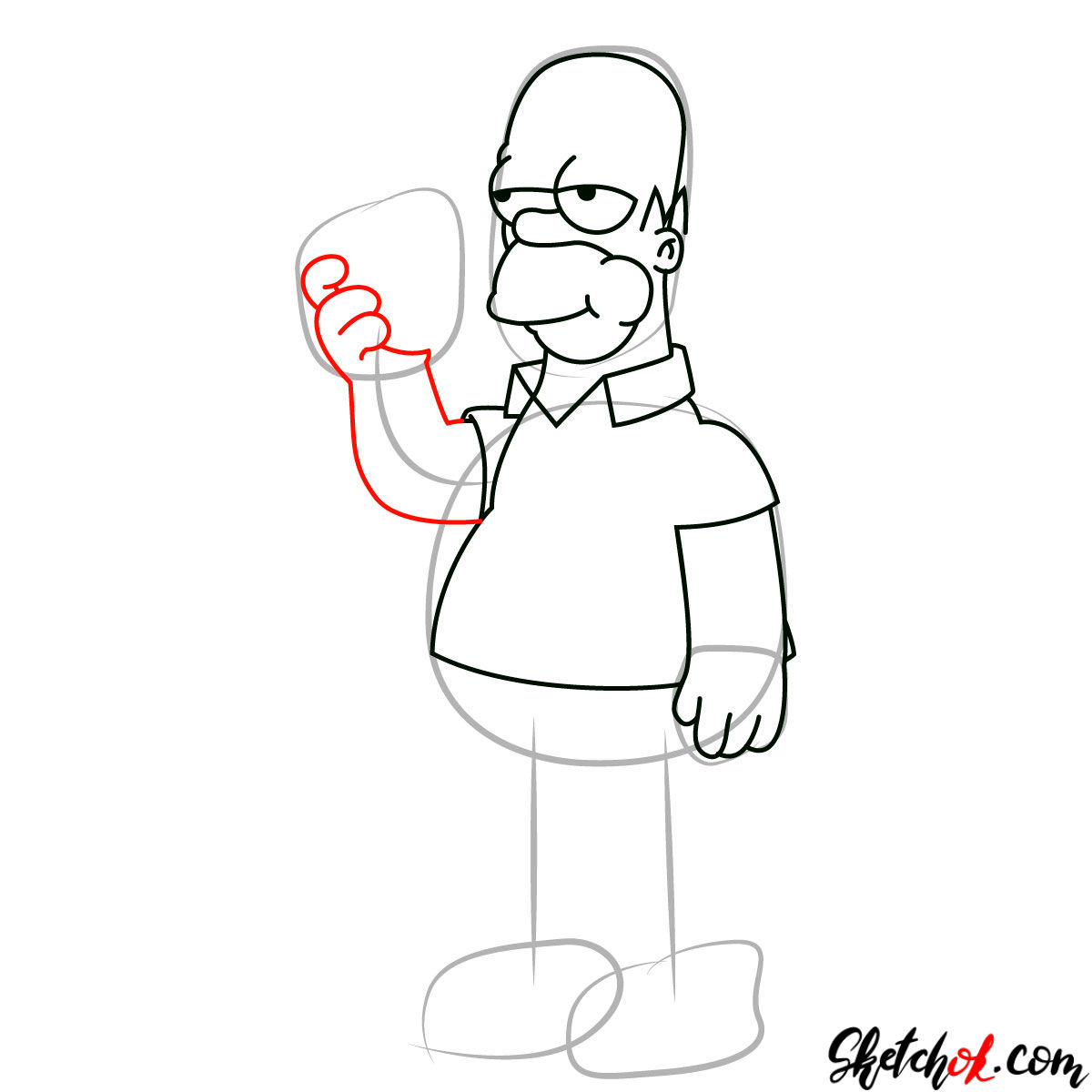 How to draw Homer Simpson eating a donut - step 07