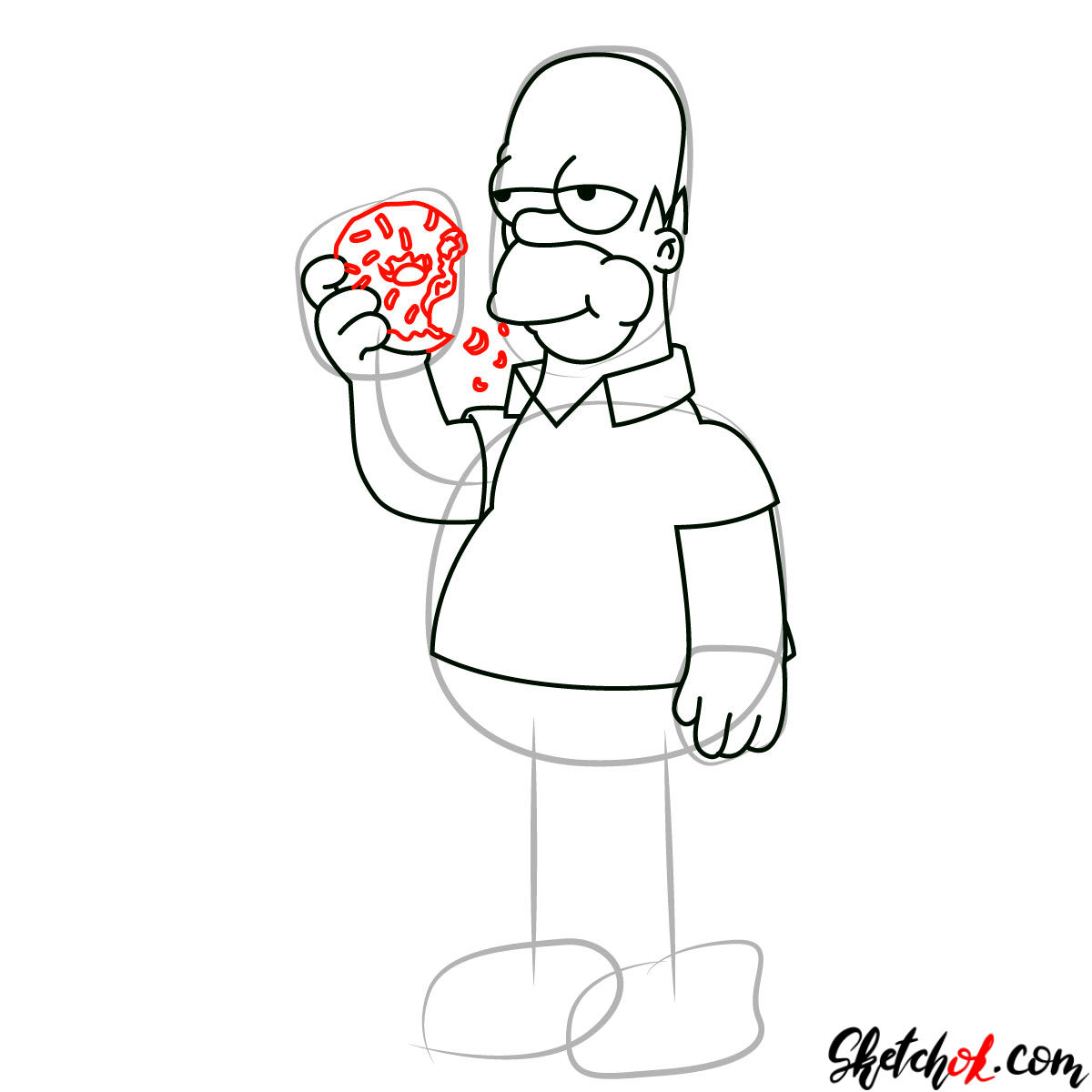 How to draw Homer Simpson eating a donut - step 08