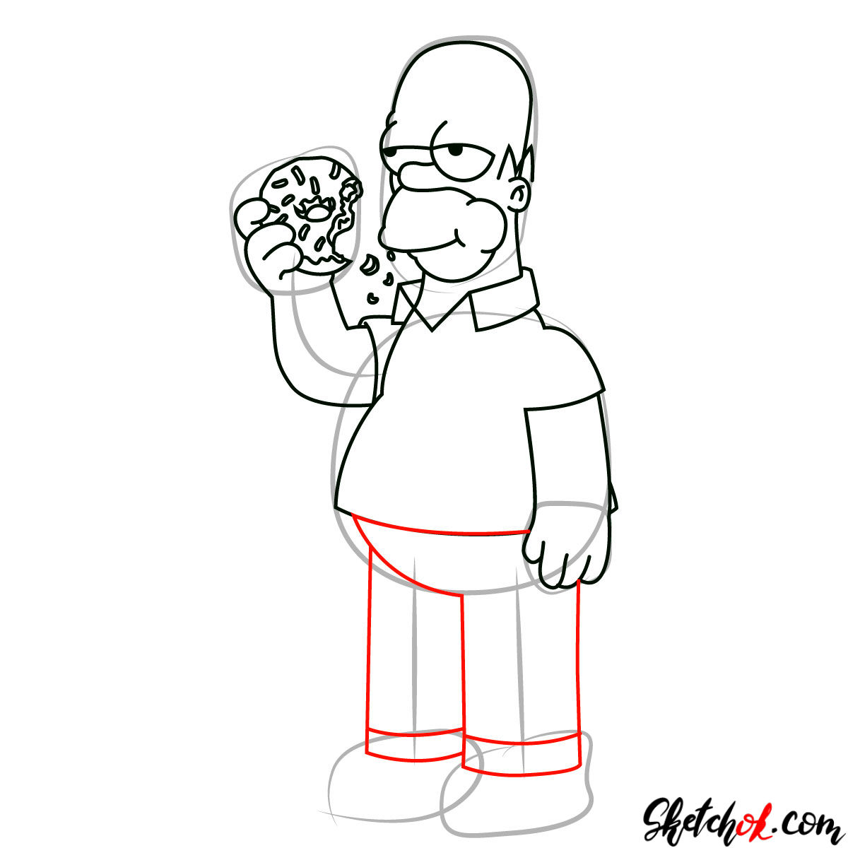 How to draw Homer Simpson eating a donut - step 09
