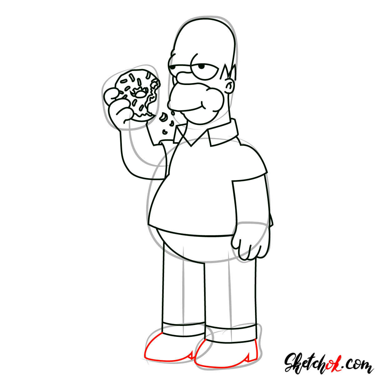 How to draw Homer Simpson eating a donut - step 10