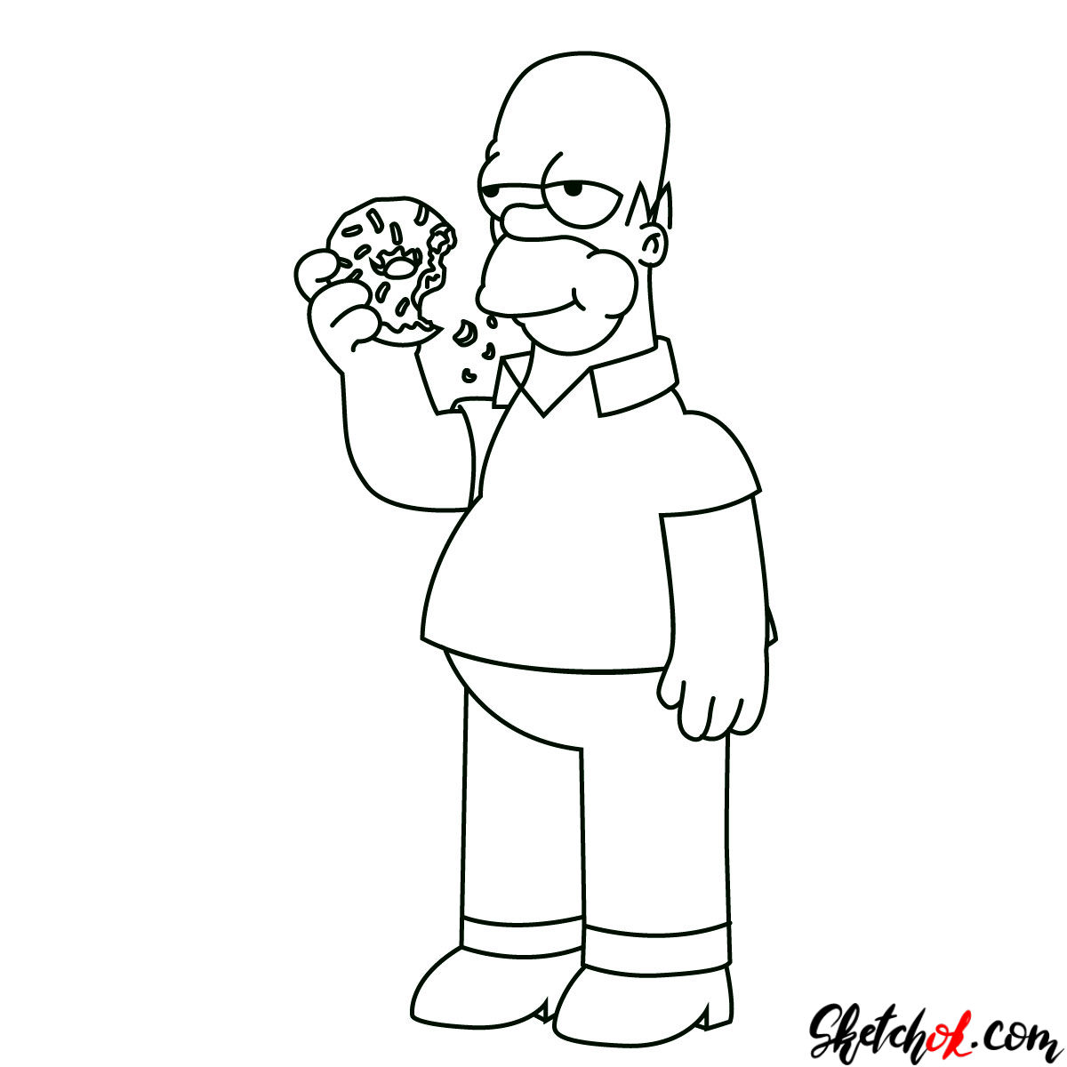 How to draw Homer Simpson eating a donut - step 11