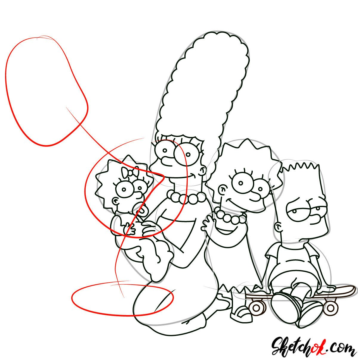 How to draw the Simpsons Family - step 23