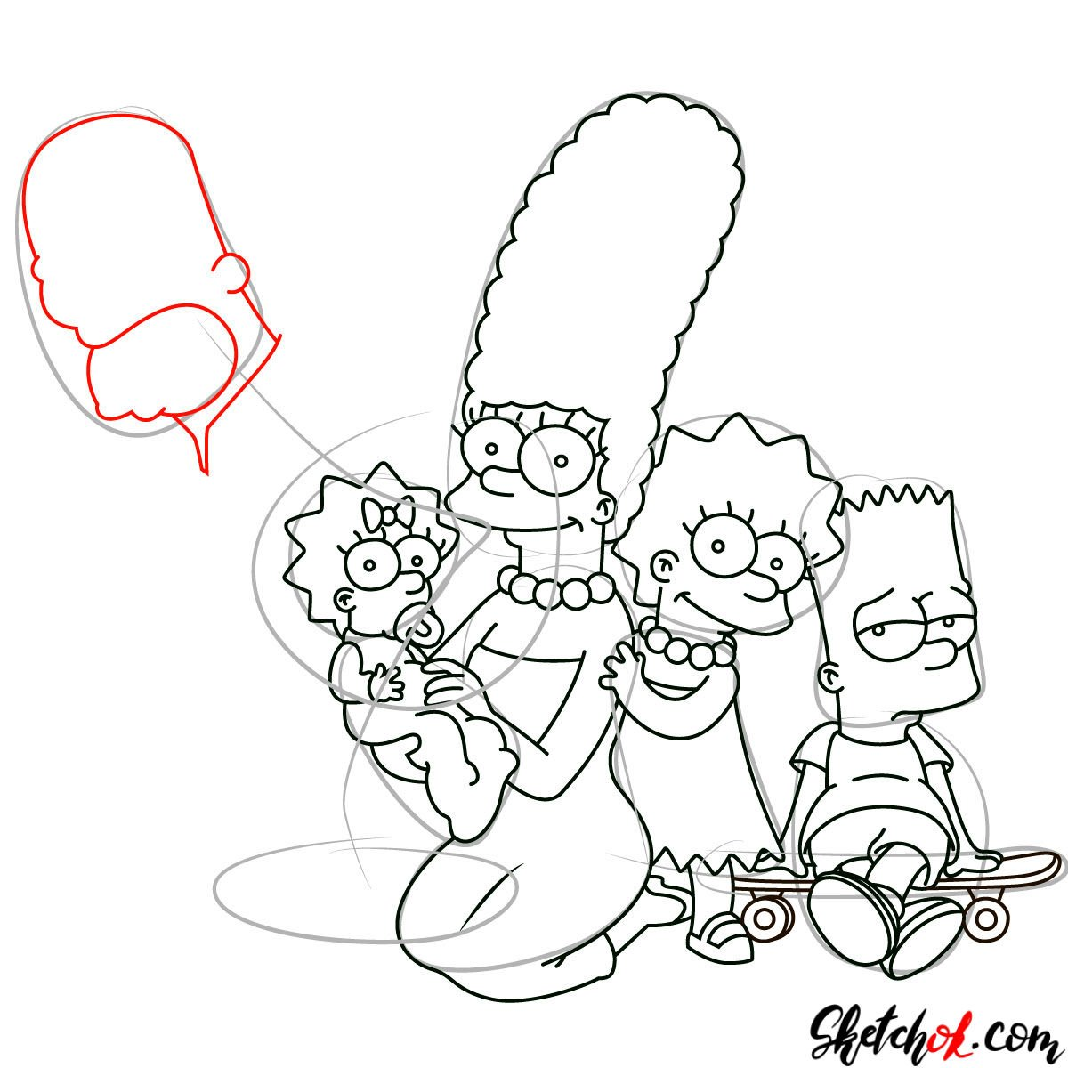 How to draw the Simpsons Family - step 24