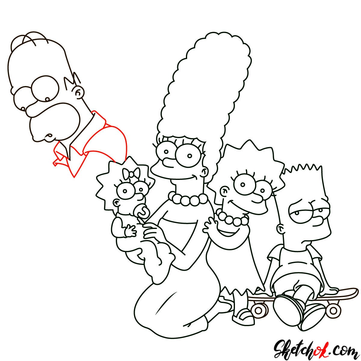 How to draw the Simpsons Family - step 26