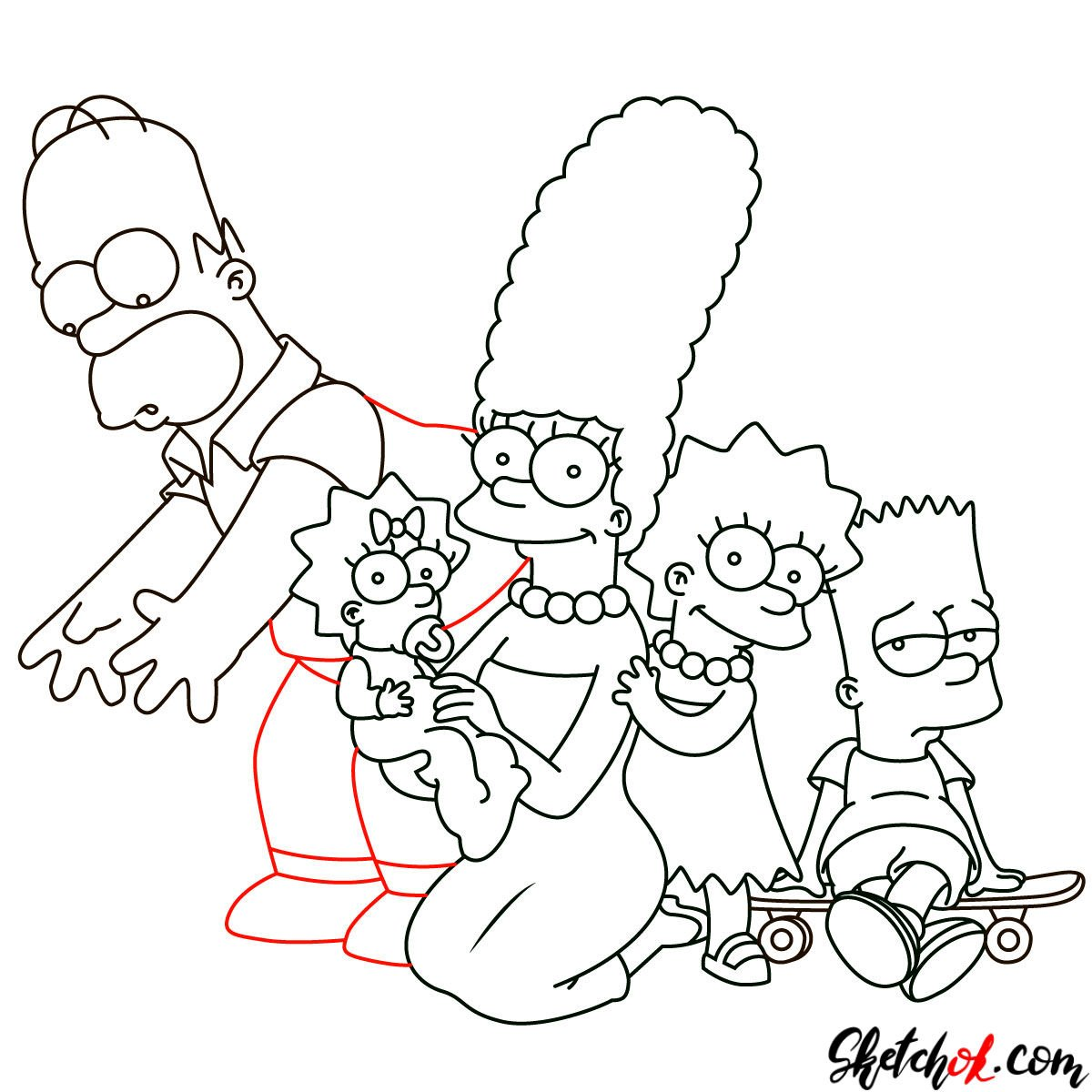 How to draw the Simpsons Family - step 28