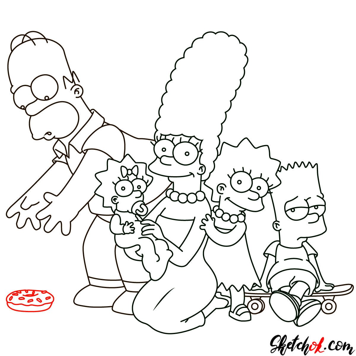 How to draw the Simpsons Family - step 29