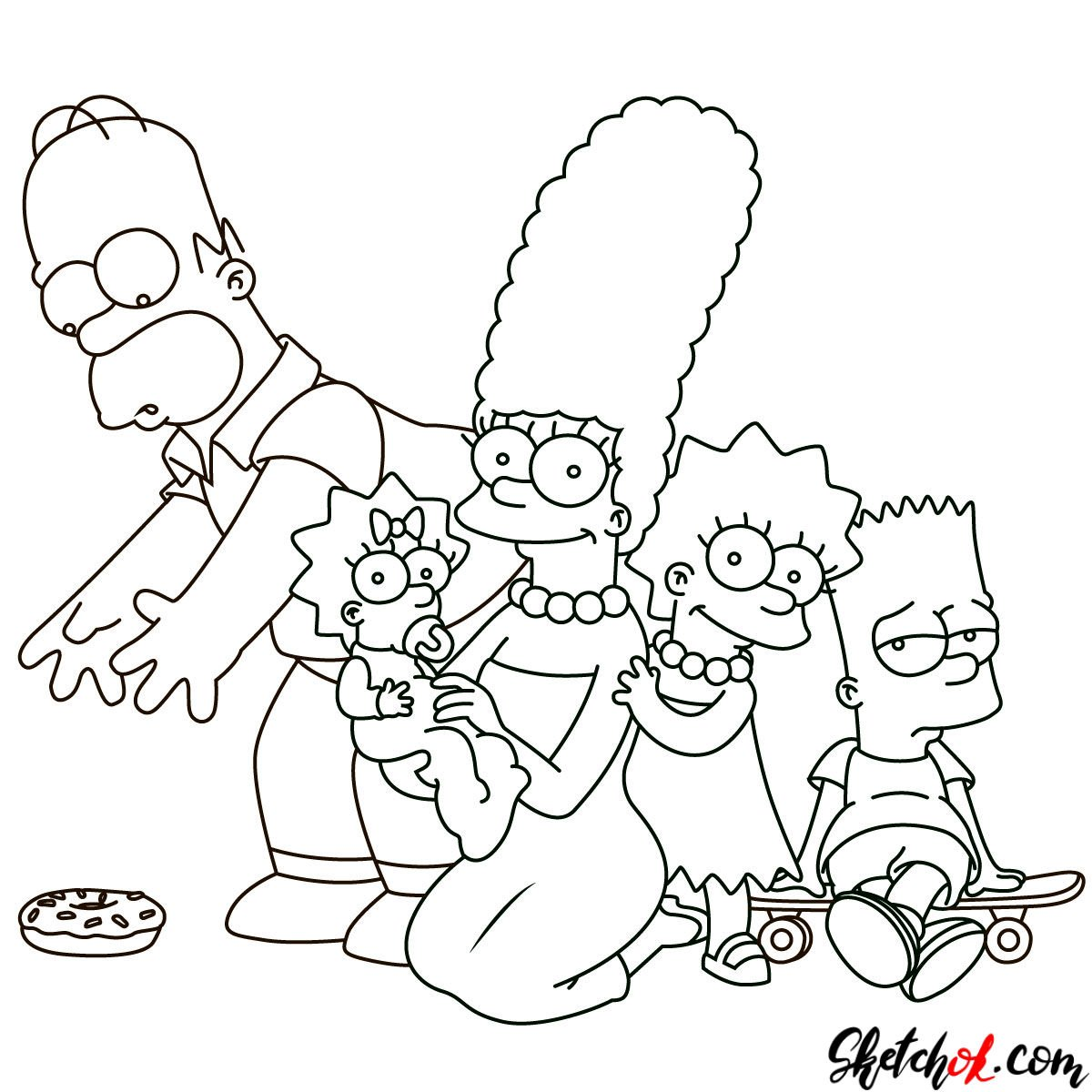 How to draw the Simpsons Family - step 30