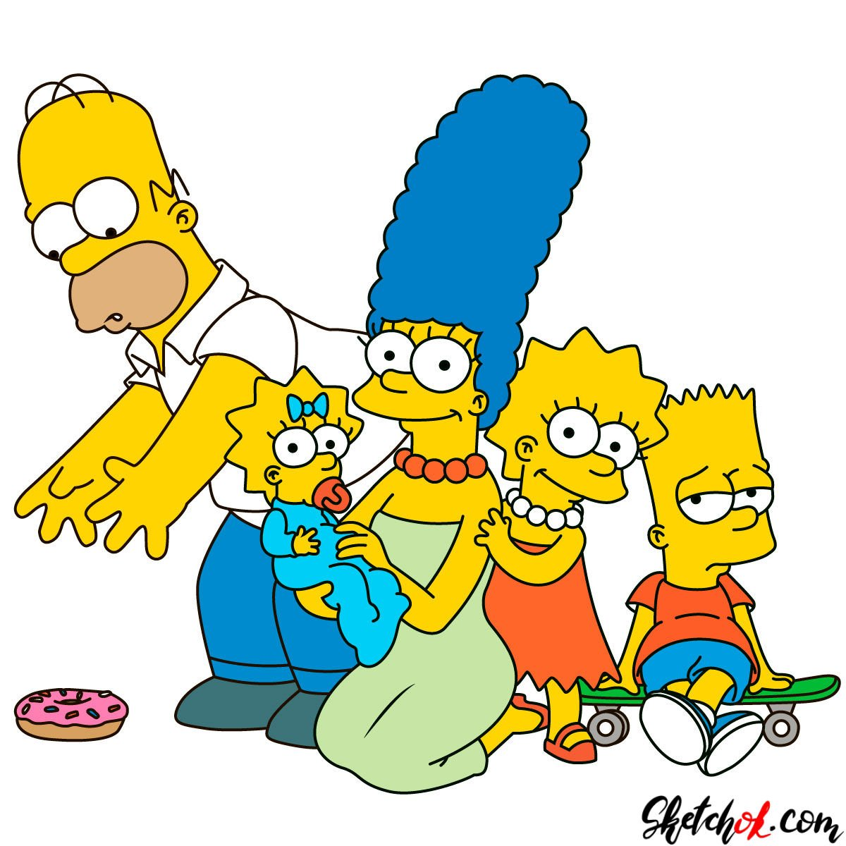 How to draw the Simpsons Family - step 31