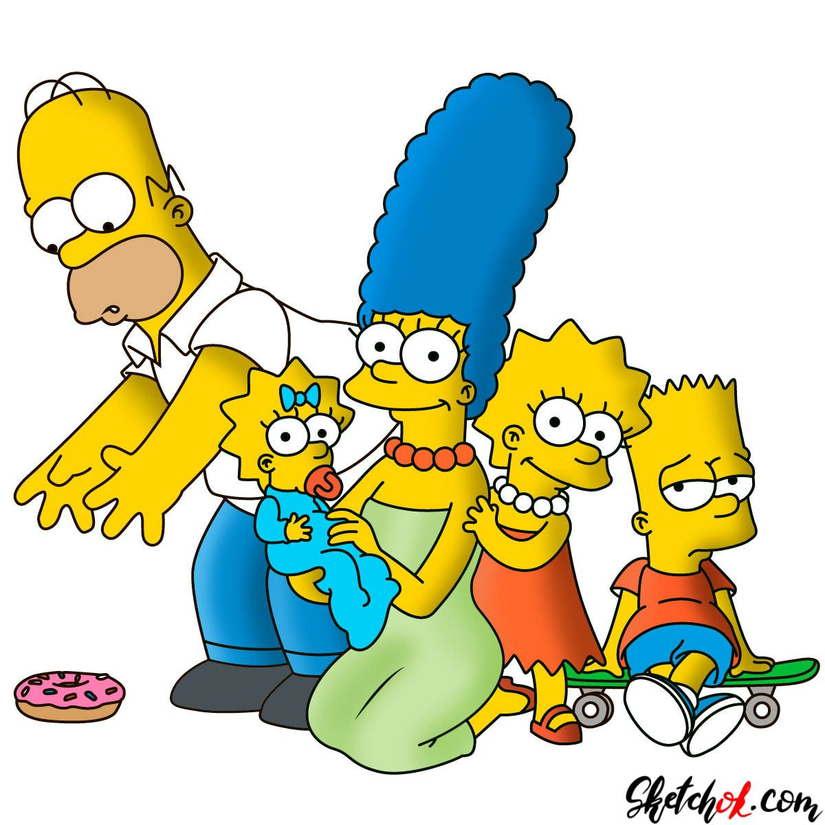 How to draw the Simpsons family together