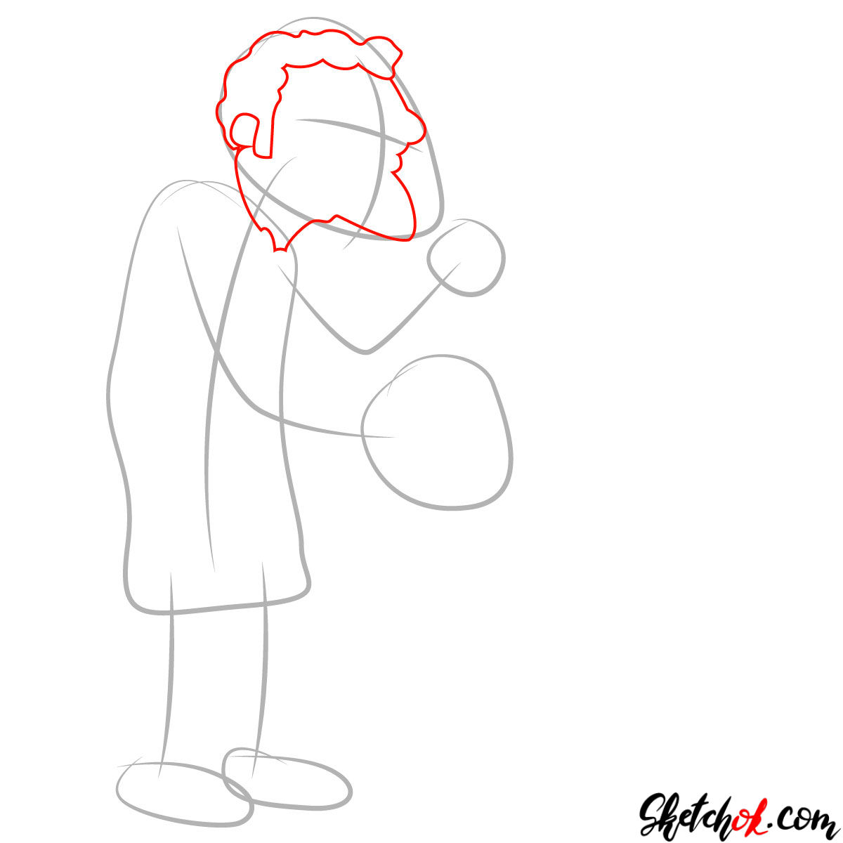 How to draw Moe Szyslak in his bar - step 02