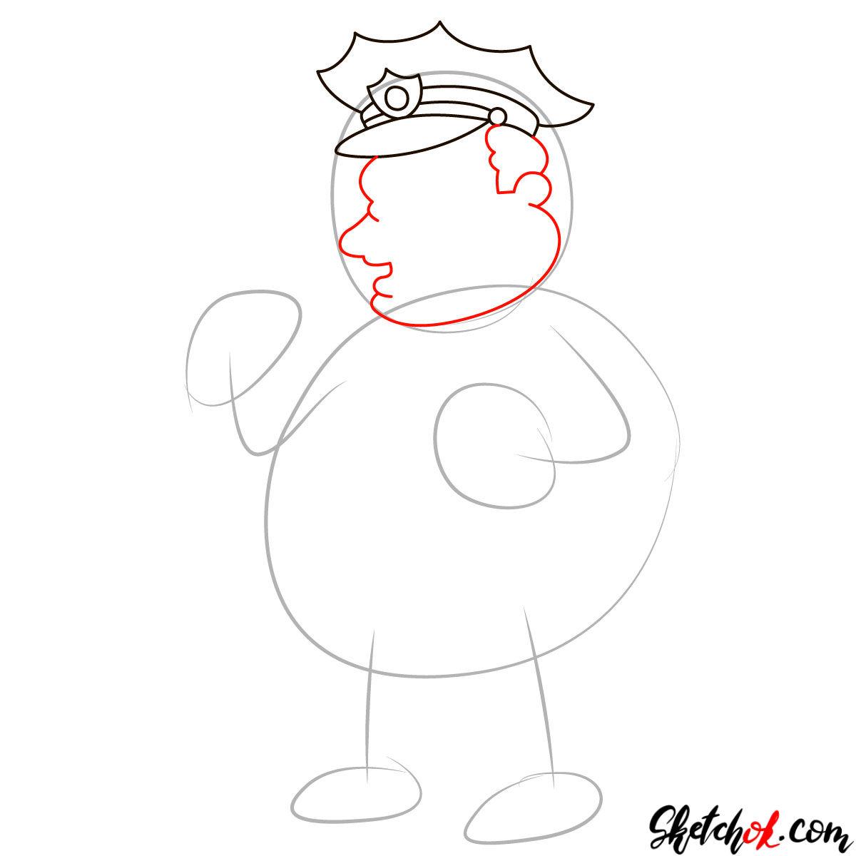 How to draw Chief Clancy Wiggum - step 03