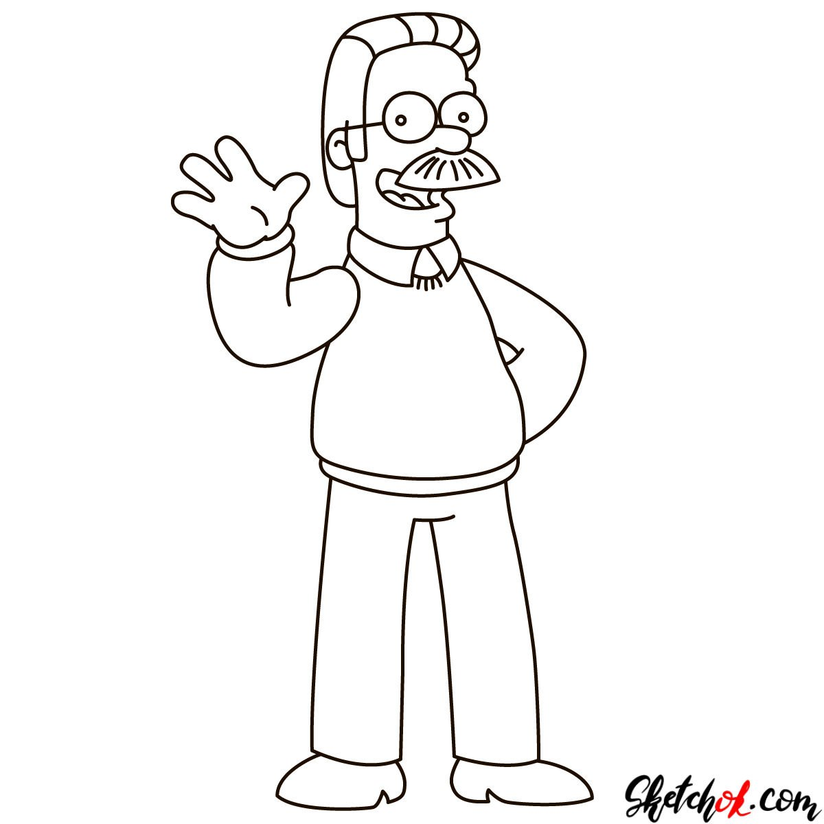 How to draw Ned Flanders - step 10