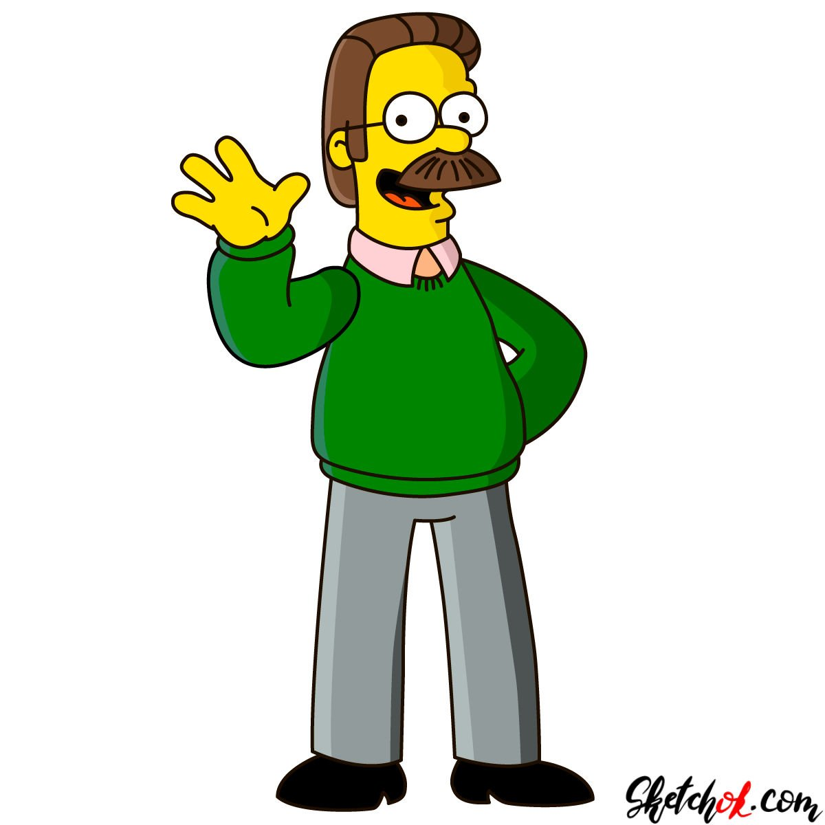 How to draw Ned Flanders - coloring