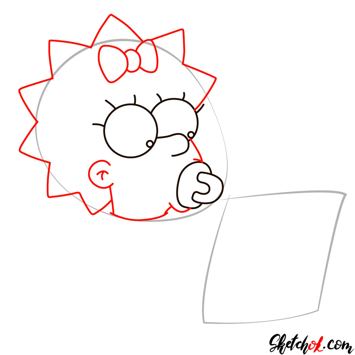 How to draw Maggie Simpson writing the acceptance speech - step 03
