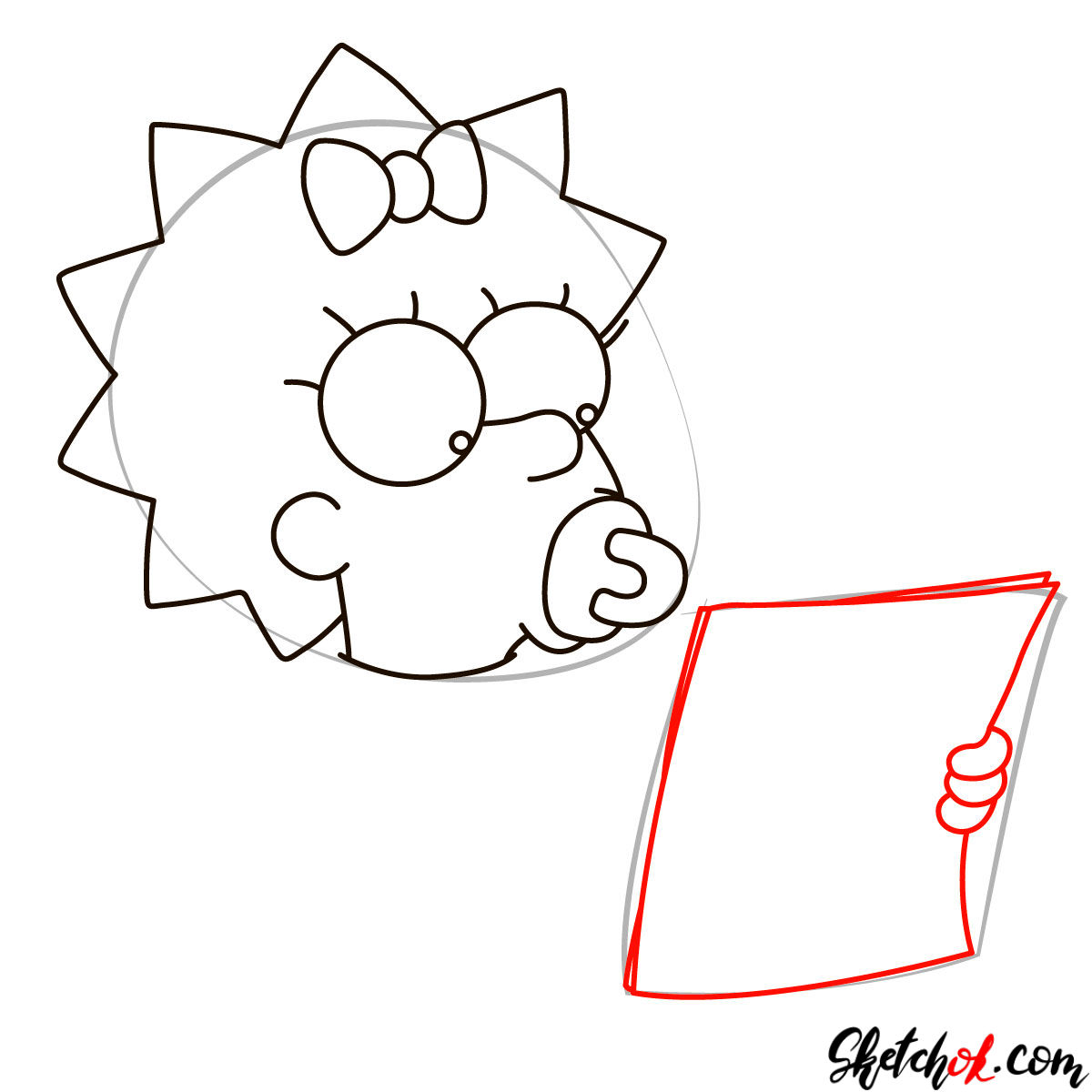 How to draw Maggie Simpson writing the acceptance speech - step 04