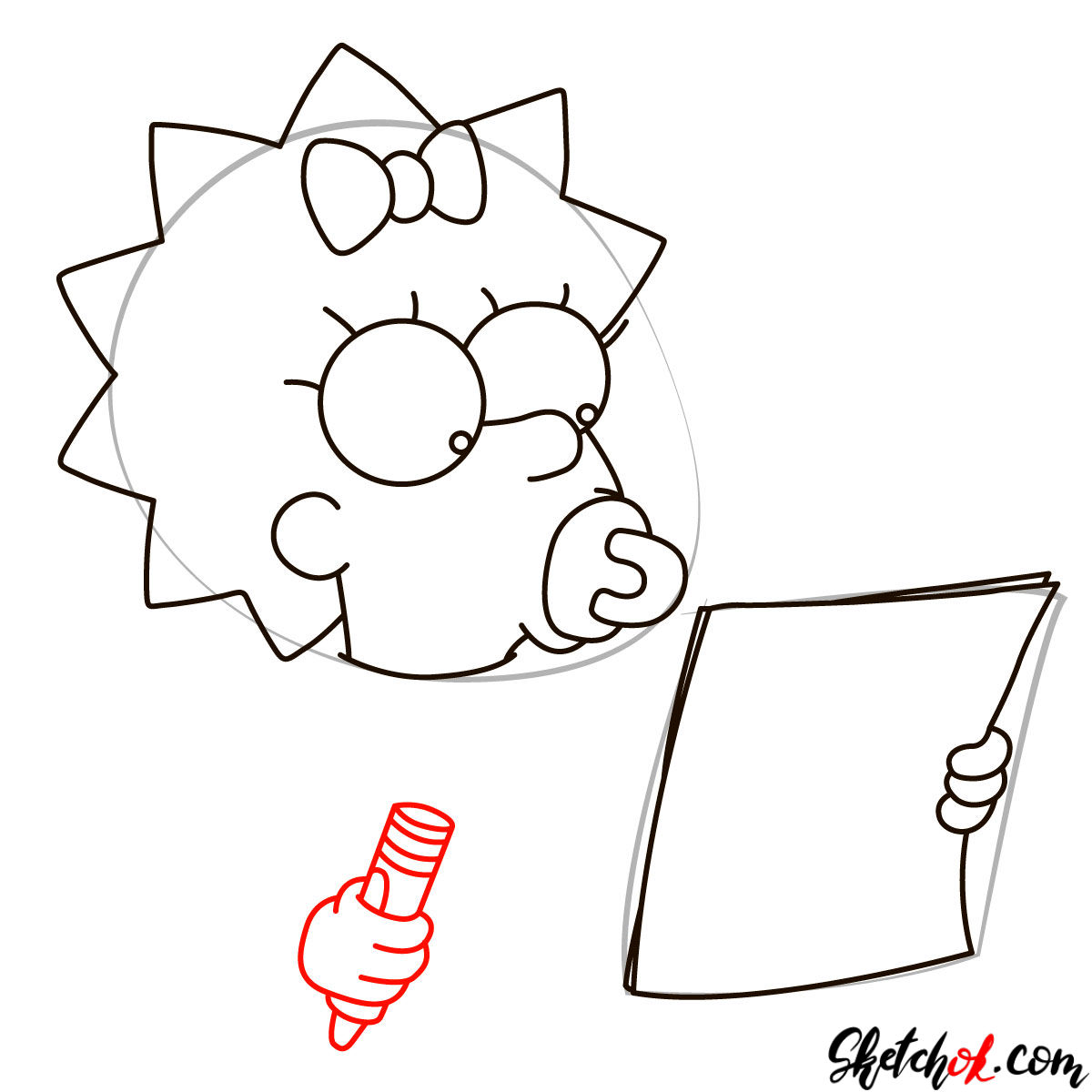 How to draw Maggie Simpson writing the acceptance speech - step 05