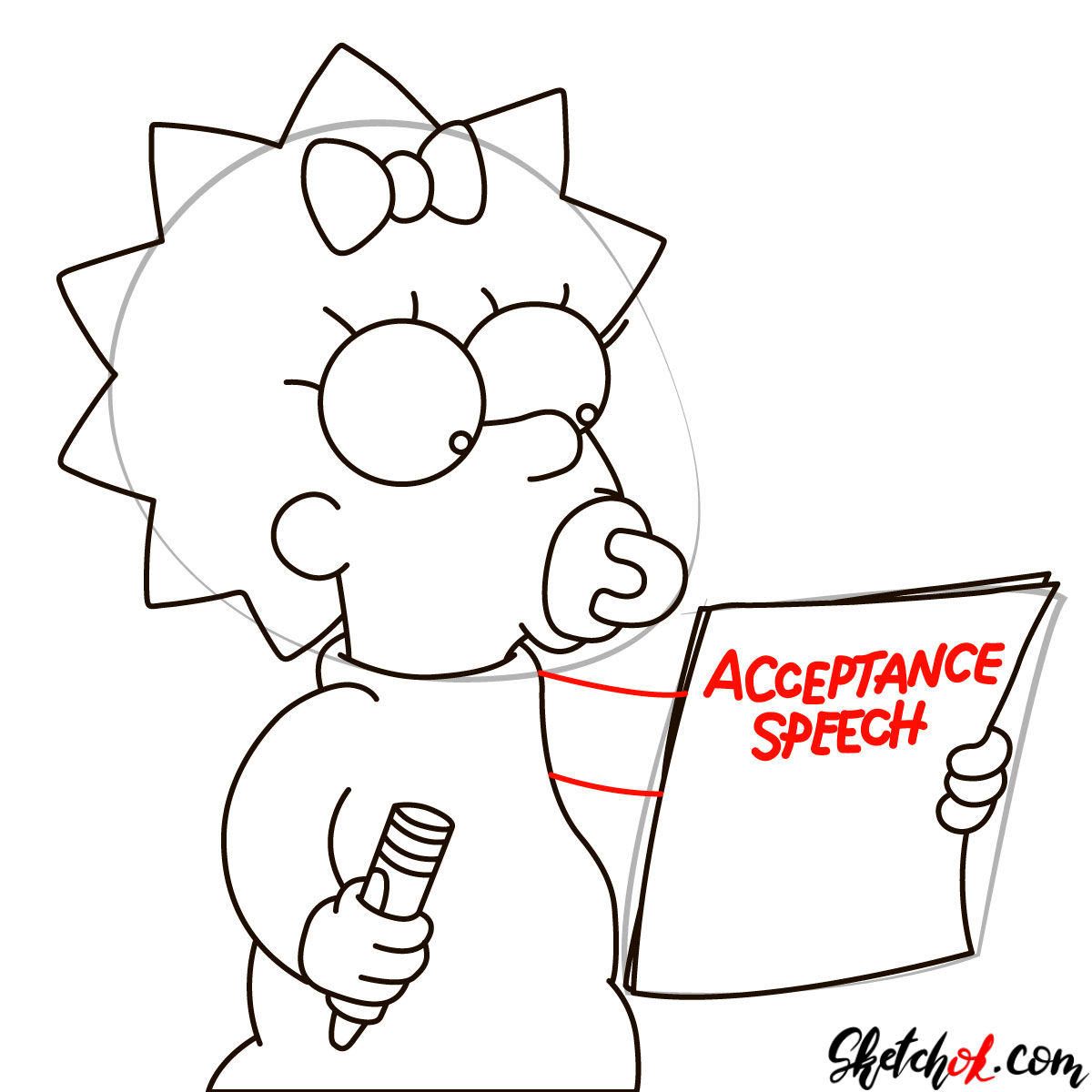How to draw Maggie Simpson writing the acceptance speech - step 07
