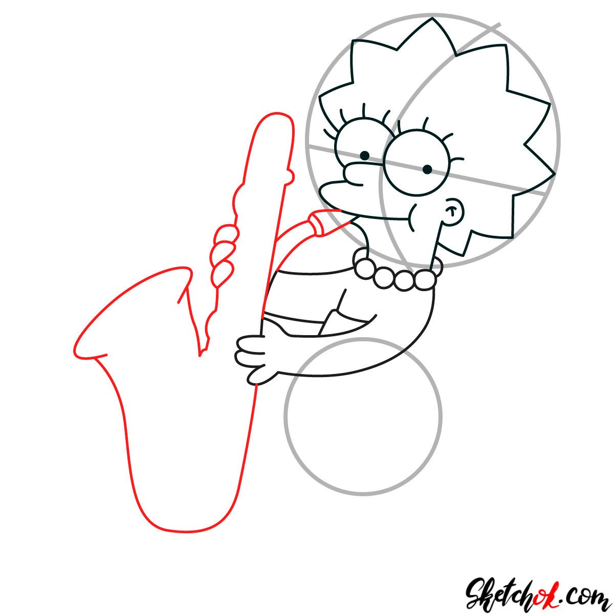 How to draw Lisa Simpson playing the saxophone - step 06