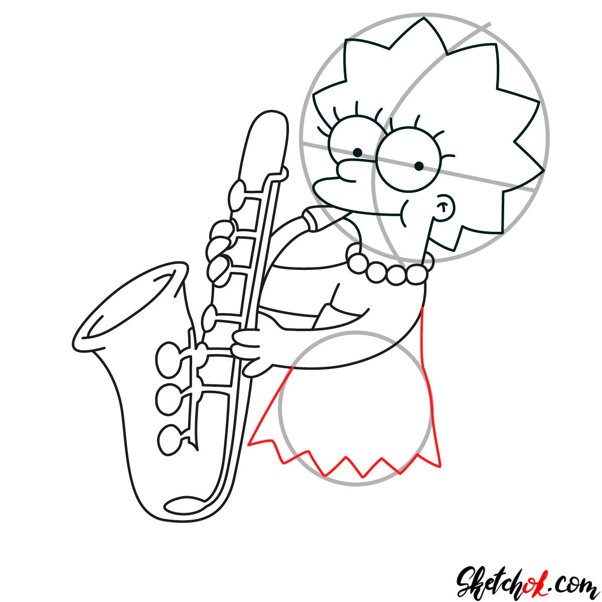 How to draw Lisa Simpson playing the saxophone - step 08