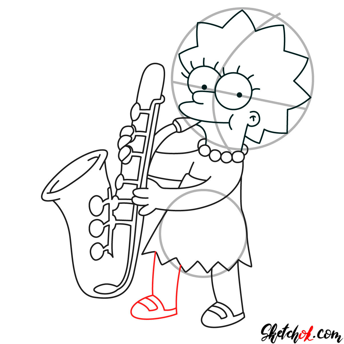 How to draw Lisa Simpson playing the saxophone - step 10